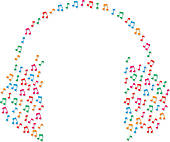 Clipart of Headphones sheet music notes concept k7229611.