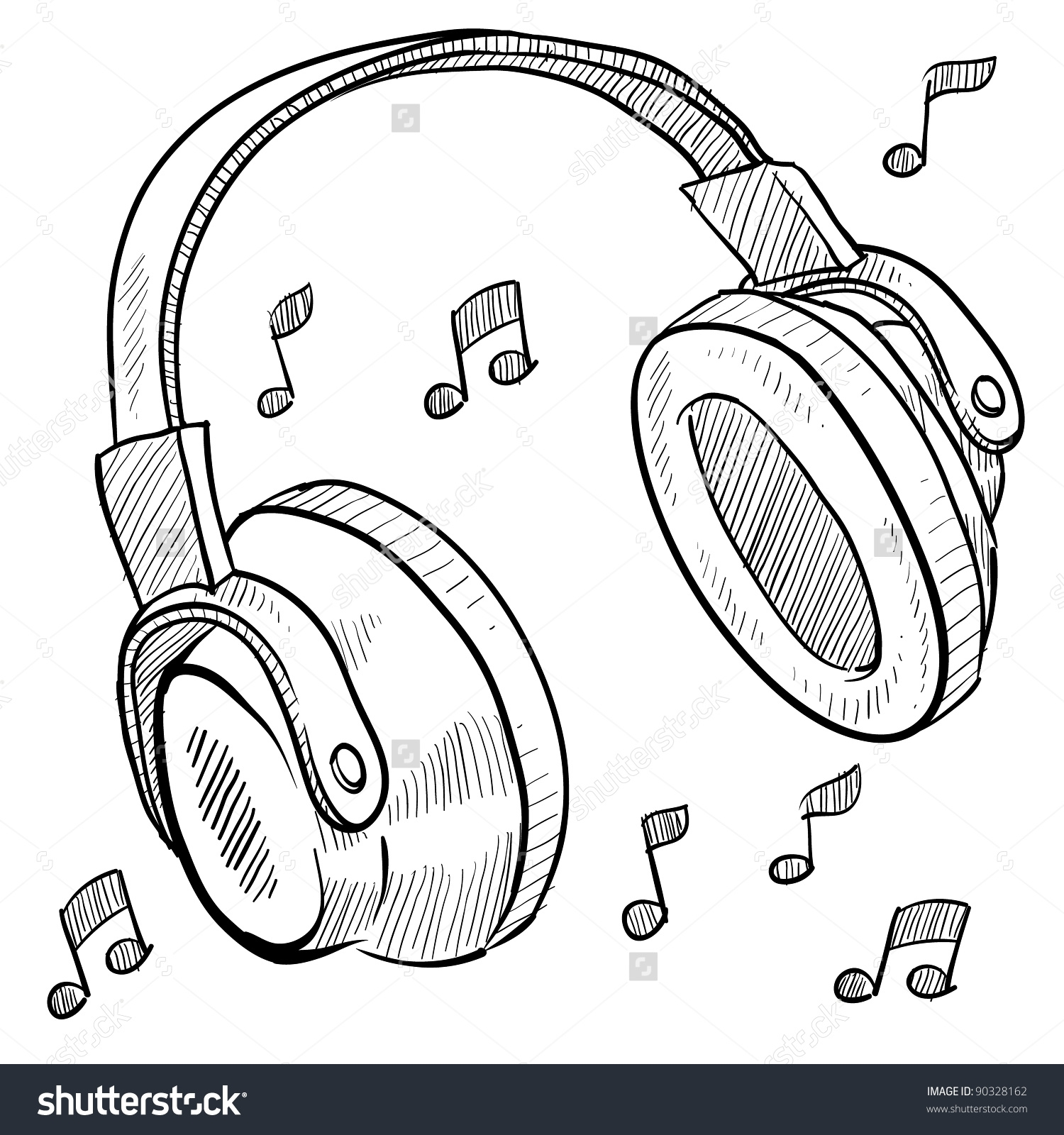 Clipart Headphones With Music Notes.