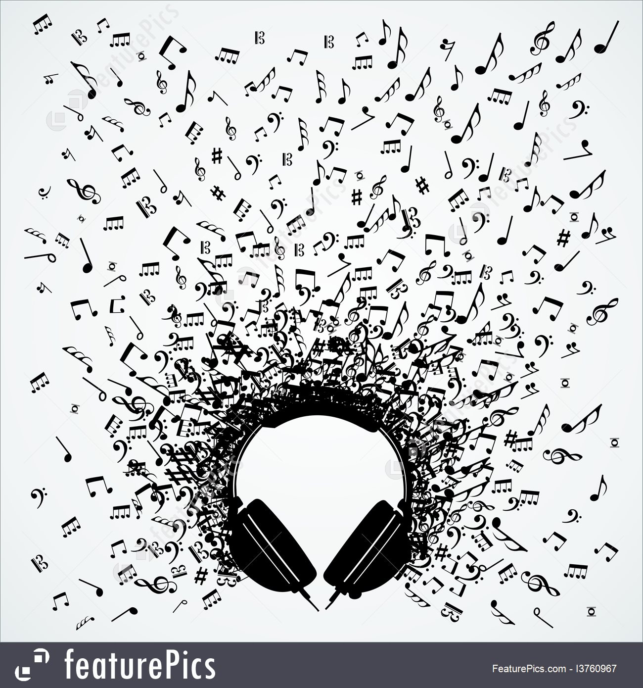 Illustration Of Music Notes From Headphones Isolated Design.