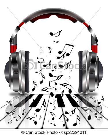 Clipart of Realistic headphones with music notes and a piano.