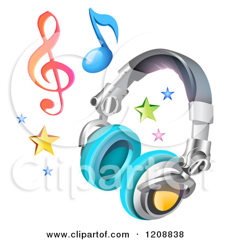 Clipart of a 3d Music Headphones Stars and Notes Icon.