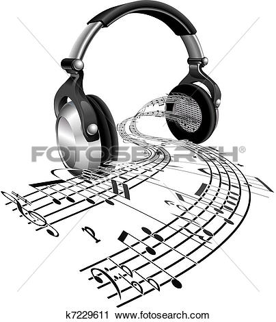 Clipart of Headphones sheet music notes concept k7229611.
