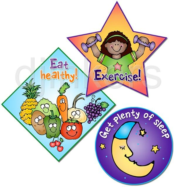 Eat healthy, exercise, sleep, health clip art, health class.