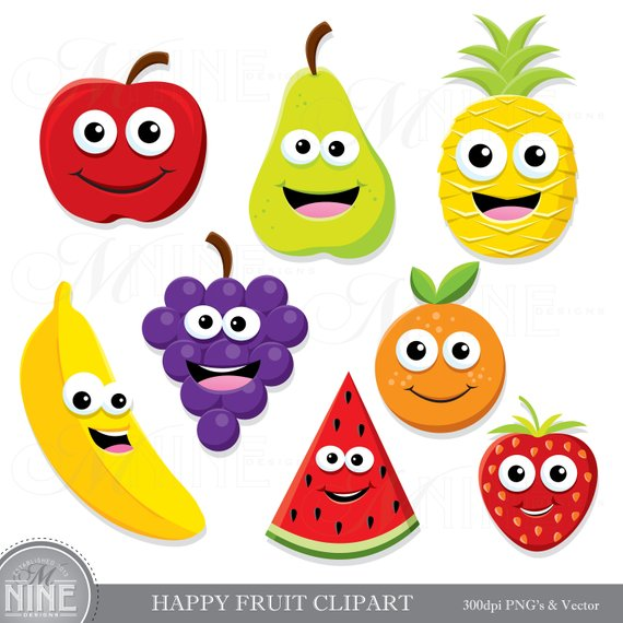 HAPPY FRUIT Clip Art / Fruit Clipart Downloads / Cute Fruit.