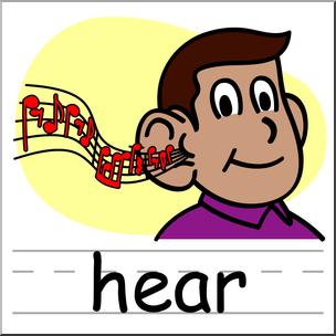 Clip Art: Basic Words: Hear Color Labeled I abcteach.com.