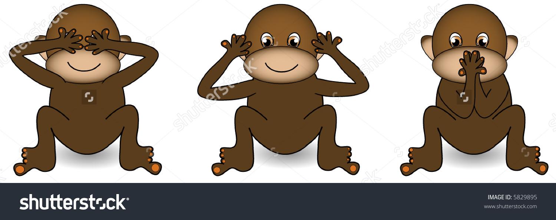 Hear No Evil See No Evil Speak No Evil Monkeys Clipart.