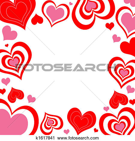 Clipart of Valentine Hearts Border k1617841.