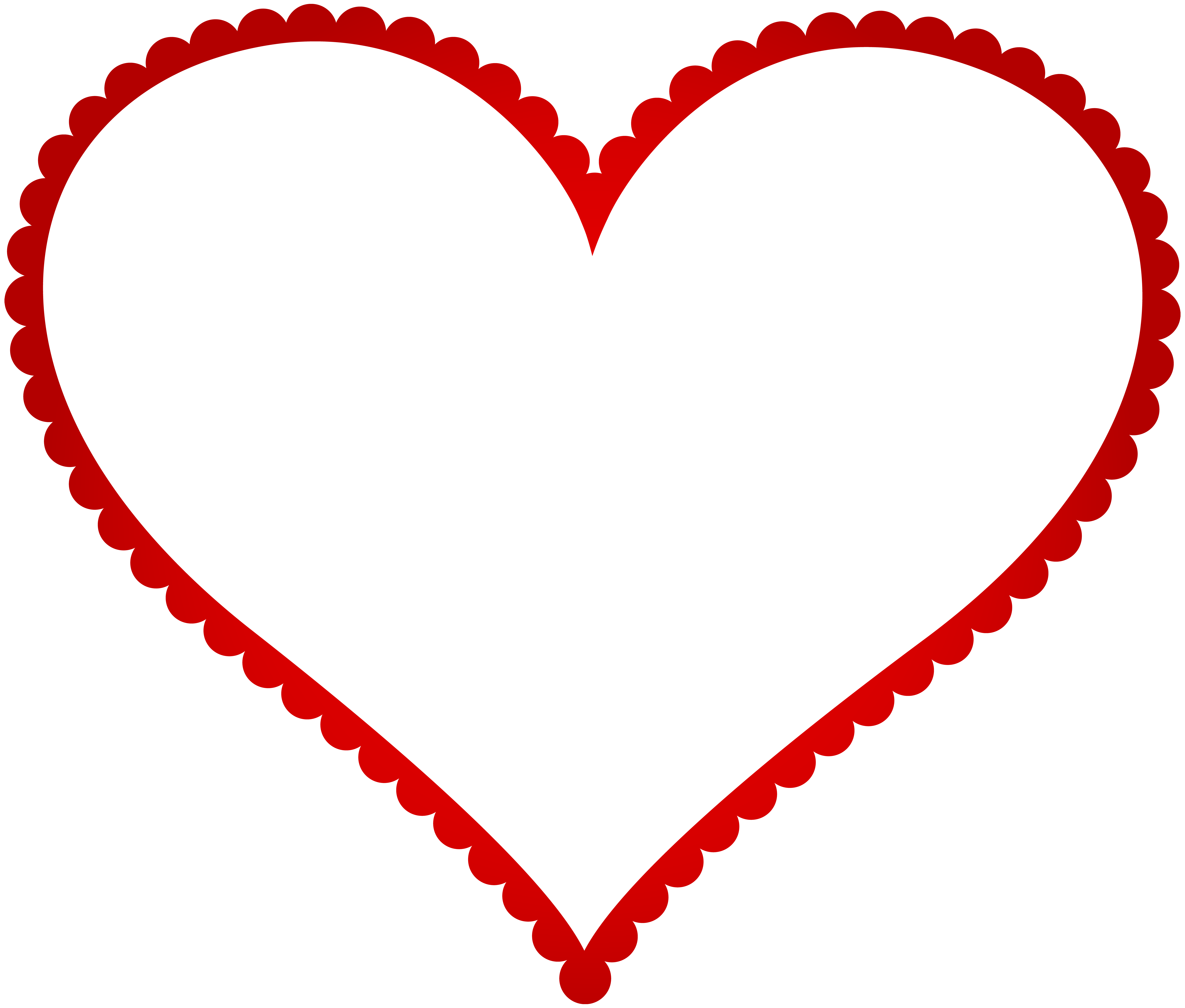 Red Heart Border Frame Transparent PNG Clip Art.