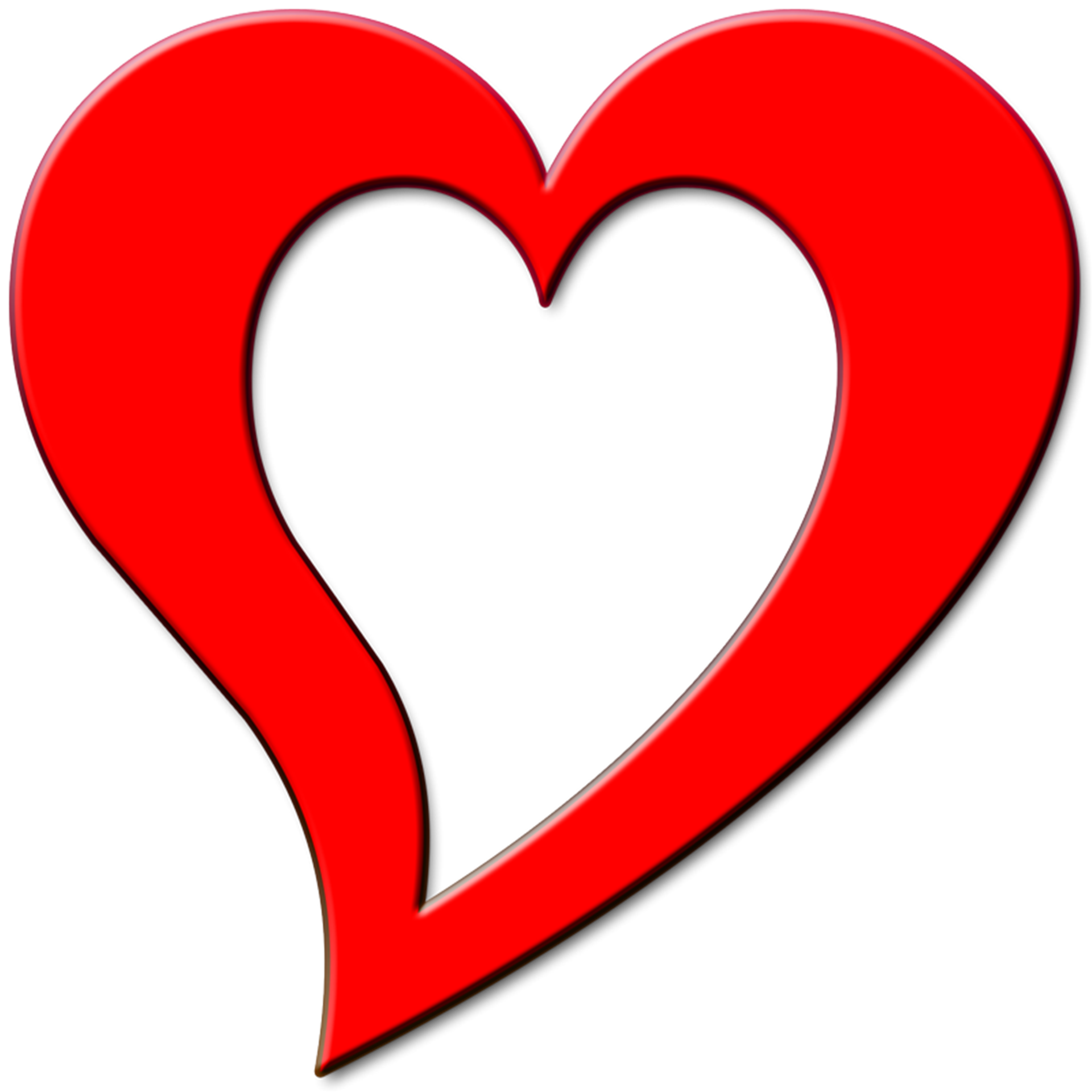 Red heart design clipart free image.