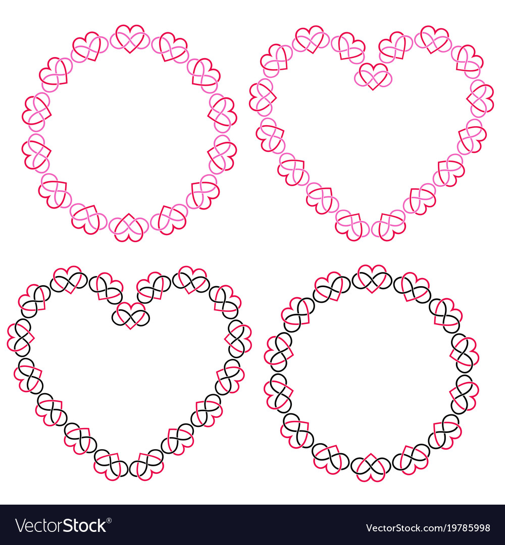 Interlocking heart frames clipart.