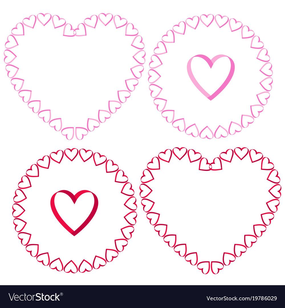Ribbon heart frames clipart set.