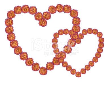 Orange and Yellow Prickly Flower Heart Frames On White.