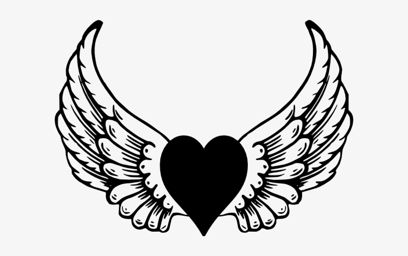 Jpg Black And White Download Heart With Wings Clipart.