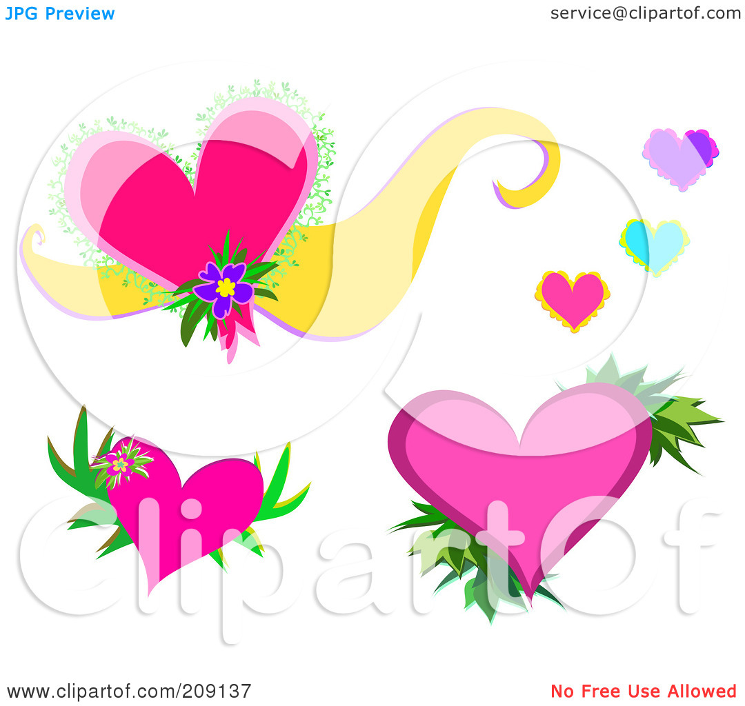 Pink hearts and flowers clipart.