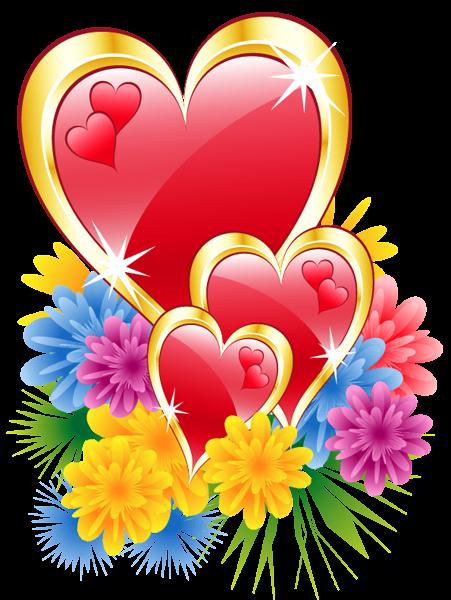 Corações dos namorados com flores PNG Clip Imagem.