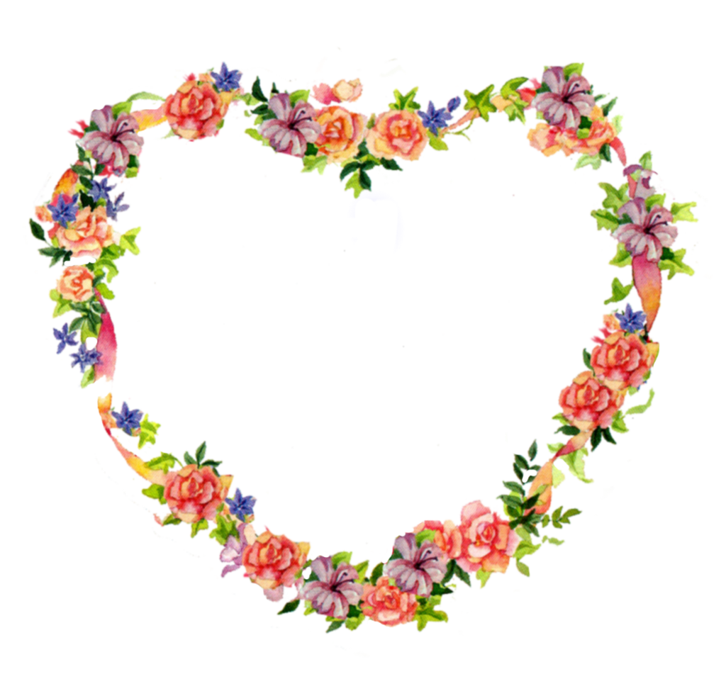Clipart of hearts and flowers.