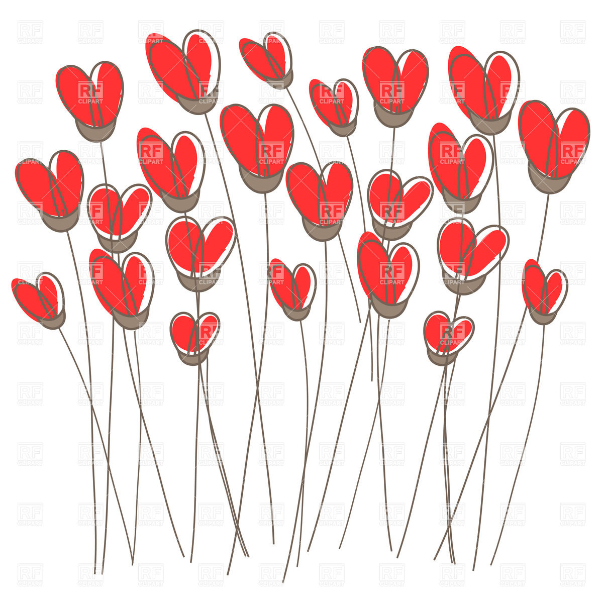Greetings card with flowers with hearts instead of buds Vector.