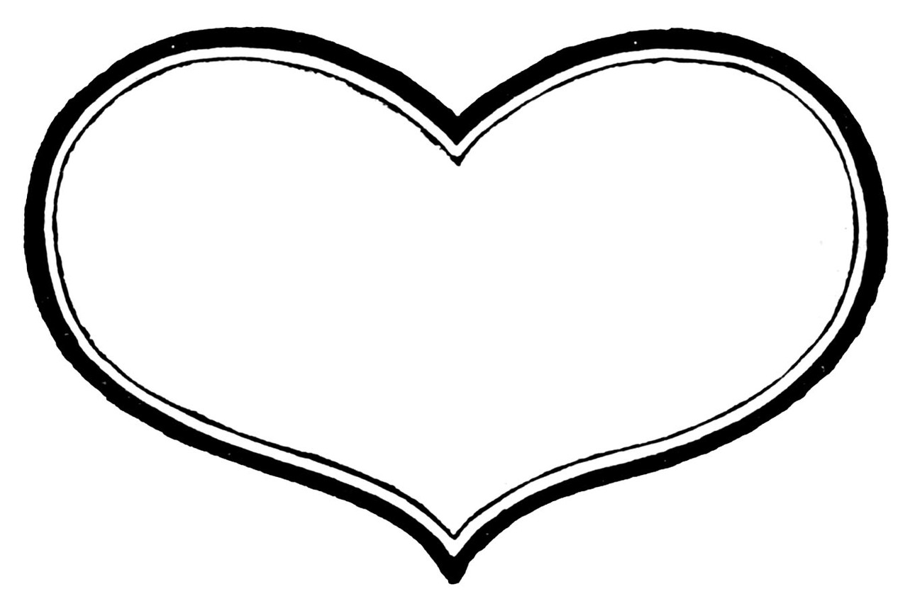 439 Heart Black And White free clipart.