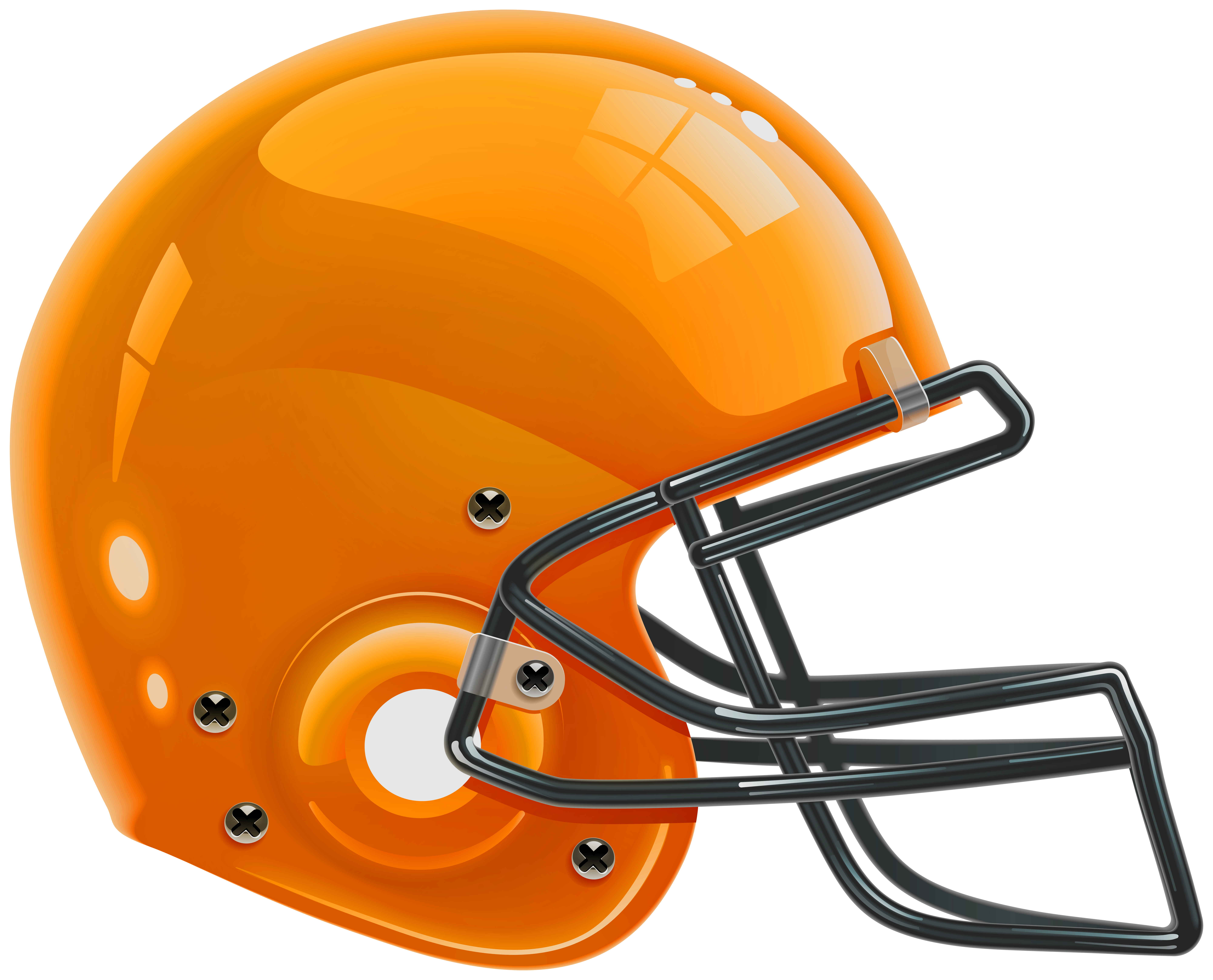Orange Football Helmet PNG Clip Art.