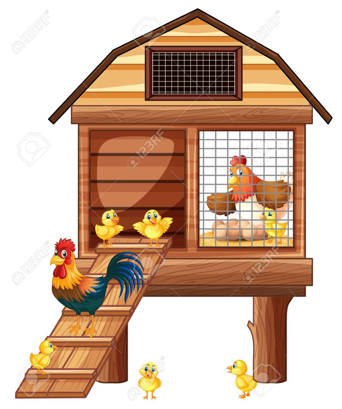 Chicken coop with many chicks illustration.