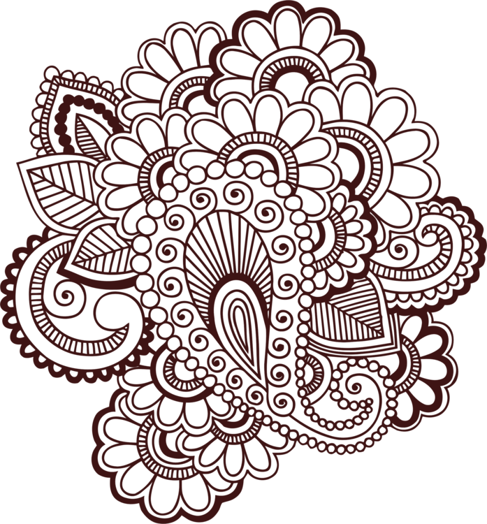 Henna Line Art Clipart Png & Free Clip Art Images #23747.