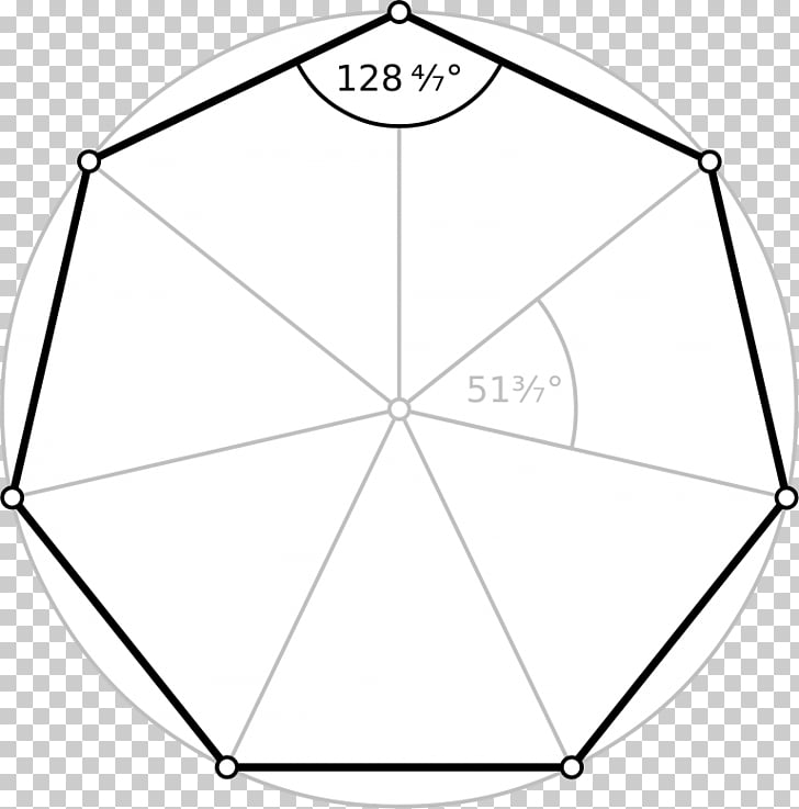 Heptagon Regular polygon Degree Internal angle, Angle PNG.
