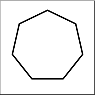 Clip Art: Shapes: Heptagon B&W Unlabeled I abcteach.com.