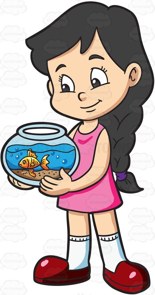A girl looking lovingly at her pet fish #cartoon #clipart.