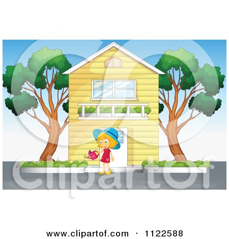 Cartoon Of A Girl Watering Bushes In Front Of Her House.