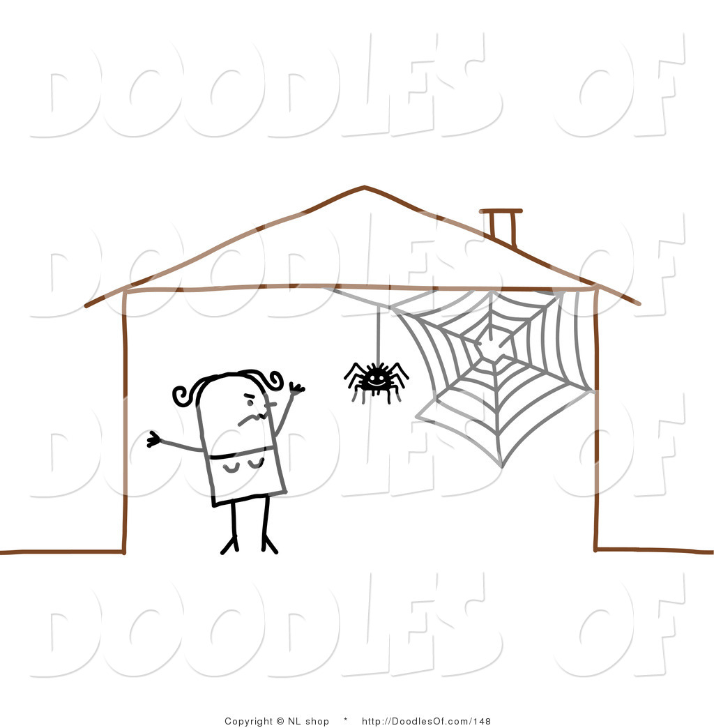 Vector Clipart of a Scared Stick Figure Person Woman by a Spider.