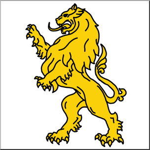 Clip Art: Heraldry: Heraldic Lion Color I abcteach.com.