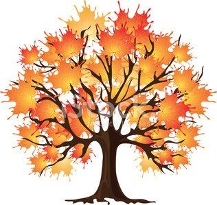 Kunst Herbst Baum. Ahorn Clipart Image.
