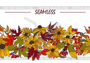 Herbstblumen, Blätter und Beeren, nahtlos.