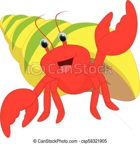 happy hermit crab cartoon.