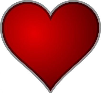 Red Heart Clipart Graphic.