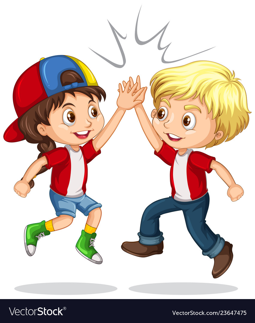 Boy and girl high five vector image.