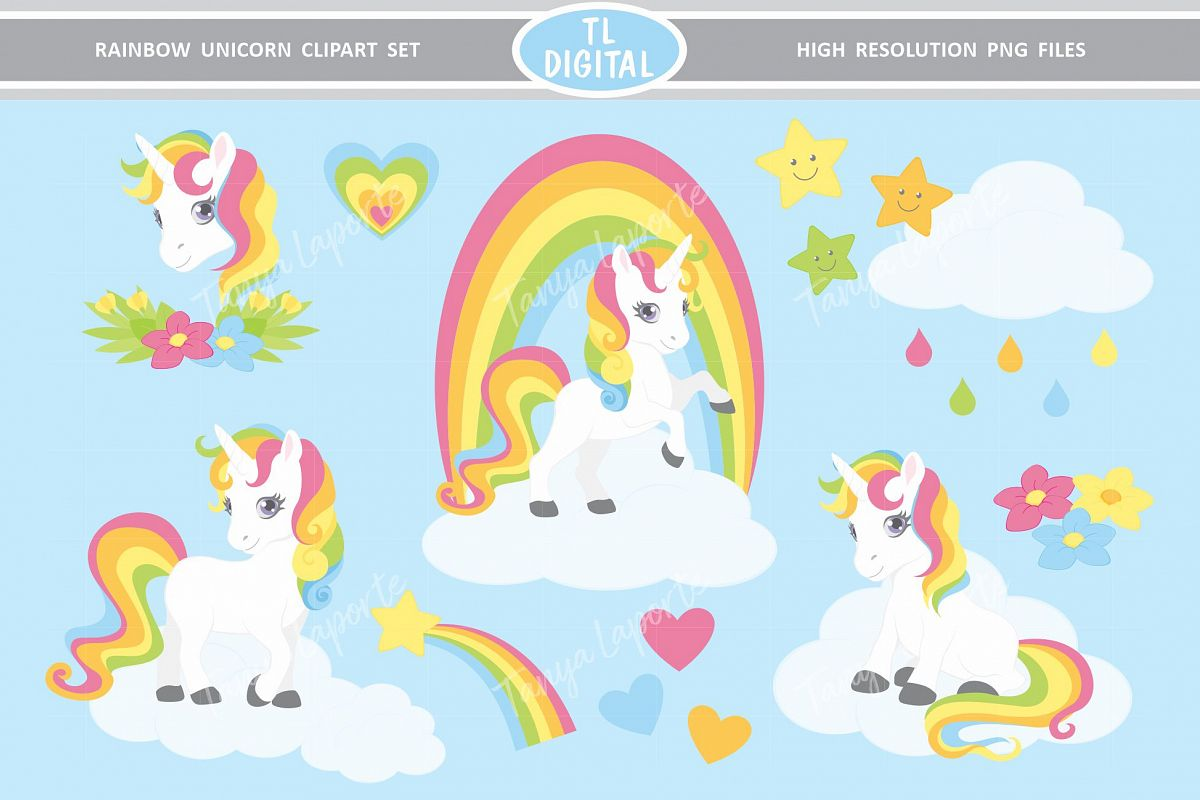 Rainbow Unicorn Clipart Set 30 High Resolution PNG Graphics.