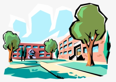Vector Illustration Of Urban Metropolitan City School.