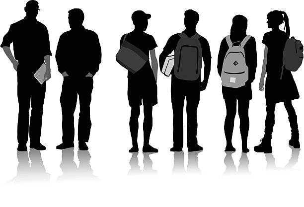 High School Students Clipart Black And White.