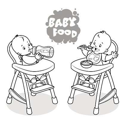 Two kids in baby highchair. Clipart Image.