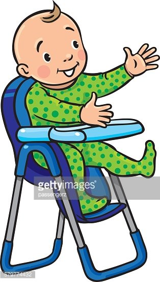 Funny smiling baby in the highchair Clipart Image.