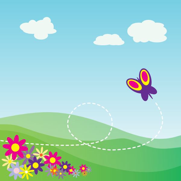 Cartoon Hillside With Butterfly And Flowers clip art (129858.
