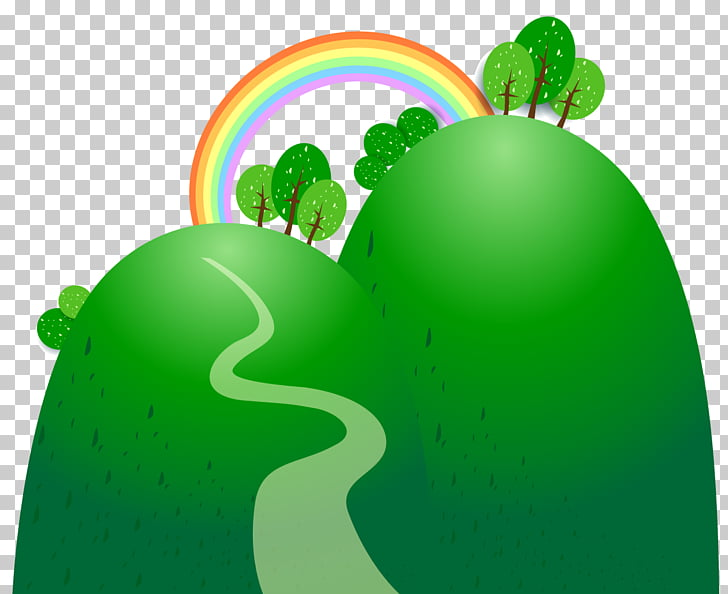 Cartoon, material rainbow hillside PNG clipart.