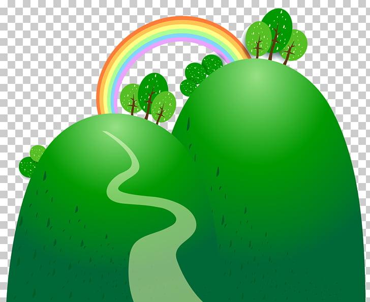 Cartoon, material rainbow hillside PNG clipart.