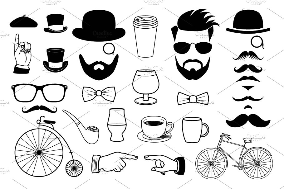 Hipster Graphics Clipart Set.