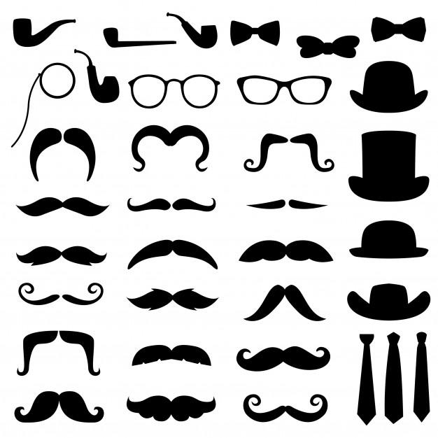 Moustache gentleman hipster clipart silhouette Vector.