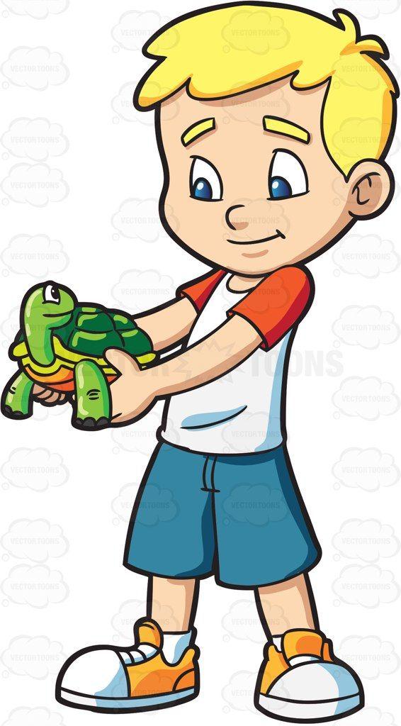 A boy holding his pet turtle #cartoon #clipart #vector.