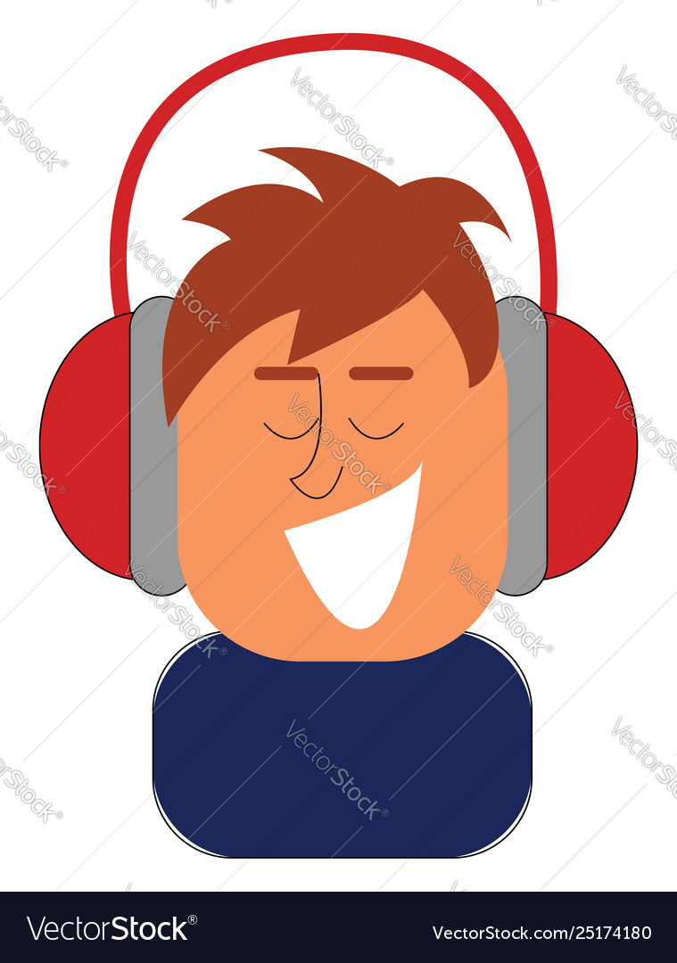 Clipart a boy listening to music with his red.
