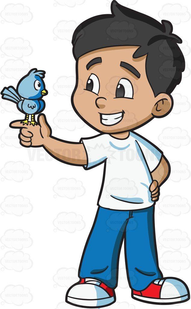 A boy looking at his pet bird #cartoon #clipart #vector.