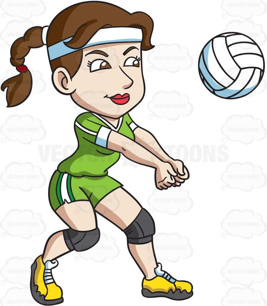 A female volleyball player hits a ball with her forearms.
